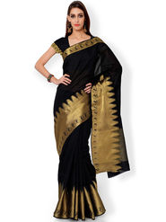 Admyrin Printed Chanderi Black Saree -Snh3-10100