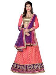 Khushali Fashion Embroidered Net Lehenga Choli(Peach,Beige)_ASFN2A117GAJARI