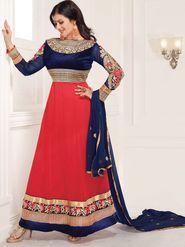Adah Fashions Velvet & Georgette Embroidered Anarkali Suit - Pink & Blue - 658-1005