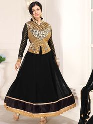 Adah Fashions Georgette Embroidered Anarkali Suit - Black - 658-1010