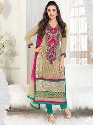Adah Fashions Georgette Embroidered A-Line Salwar Suit - Beige - 673-5117