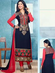 Adah Fashions Georgette Embroidered A-Line Salwar Suit - Multicolor - 696-1360