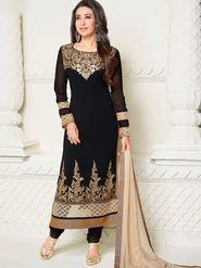 Adah Fashions Georgette Embroidered Semi Stitched Suit - Black - 711-5137