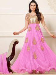 Adah Fashions Net Embroidered Semi Stitched Suit - Pink & Golden
