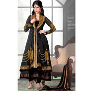 Adah Designer Net & Japan Satin Semi-Stitched Suit - Black