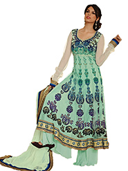 Adah Fashions Embroidered Net Semi-Stitched Anarkali Suit - Green