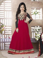 Adah Fashions Faux Georgette Embroidered Semi Stitched Dress Material - Red - 581-1902
