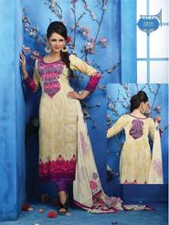 Adah Fashions Cotton Satin Embroidered Semi Stitched Dress Material - Cream