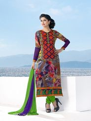 Adah Fashions Faux Georgette Embroidered Semi Stitched Dress Material - Multicolour - 606-5008