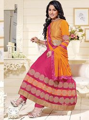 Adah Fashions Georgette Embroidered Semi Stitched Anarkali Dress Material - Orange & Pink_626-1007