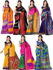 Alveera Pack of 7 Bhagalpuri Sarees - By Adah Fashions