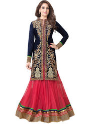 Adah Fashions Velvet & Dhupian Embroidered Semi Stitched Designer Suit - Blue