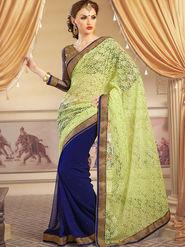Admyrin Georgette+Net Jacquard Printed Saree - Navy Blue+Light Green - 1203