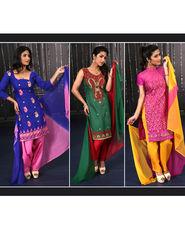 Advita Set of 3 Embroidered Partywear Suits by Zuri (3LDM1)