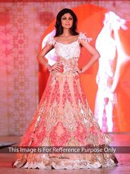 Arisha Net Embroidered Semi-Stitched Anarkali Suit - Pink