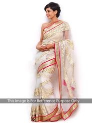 Arisha Net Embroidered Saree - Cream
