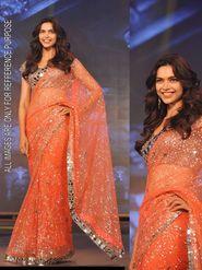 Arisha Net Embroidered Saree - Orange - 5300