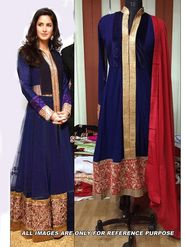 Arisha Georgette Embroidered Semi-Stitched Anarkali Suit - Blue - 6106