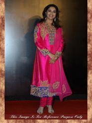 Arisha Silk Embroidered Semi-Stitched Anarkali Suit - Pink