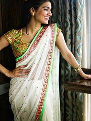 Arisha Georgette Embroidered Saree - Cream - 7036