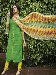 Arisha Enterprises Pure Cotton Embroidered Dress Material - Green - ARA406