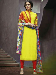 Arisha Pure Cotton Embroidered Dress Material - Yellow - ARA415