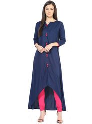 Bhuwal Fashion Solid Poly Rayon Blue Kurti -Bfbm10005