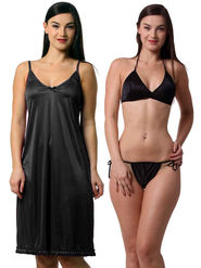 Set Of 3 Being Fab Satin Lycra Solid Nightwear -fbl36