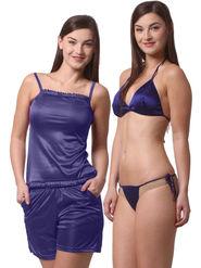 Set Of 4 Being Fab Satin Lycra Solid Nightwear -fbl28