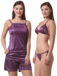 Set Of 4 Being Fab Satin Lycra Solid Nightwear -fbl32