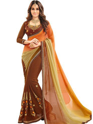 Zoom Fabrics Georgette Embroidered Designer Multicoloured Saree - BHNEERJAFIVE1019