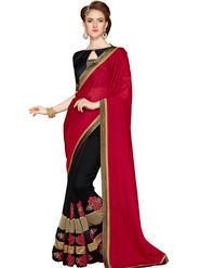 Zoom Fabrics Georgette Embroidered Designer Red & Black Saree - BHSHREYA1102