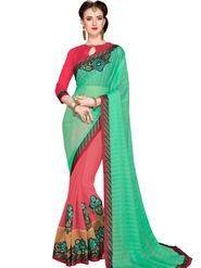Zoom Fabrics Georgette Embroidered Designer Pink & Green Saree - BHSHREYA1104