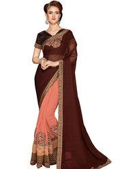 Zoom Fabrics Georgette Embroidered Designer Peach & Brown Saree - BHSHREYA1106