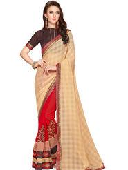 Zoom Fabrics Georgette Embroidered Designer Red & Beige Saree - BHSHREYA1109
