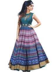 Styles Closet Embroidered Pure Bhagalpuri Semi-Stitched Blue Suit -Bnd-10017