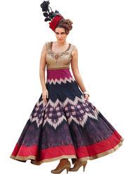 Styles Closet Embroidered Bhagalpuri Semi-Stitched Blue Dress Material -Bnd-10023