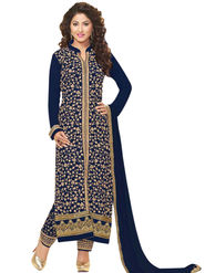 Styles Closet Embroidered Georgette Semi-Stitched Blue Suit -Bnd-6104