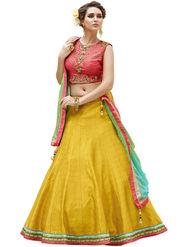 Styles Closet Embroidery Banglori Silk Yellow Lehenga - BND-7025