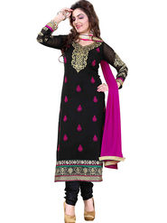 Styles Closet Embroidered Georgette Black Semi-Stitched Suit -Bnd-S1019