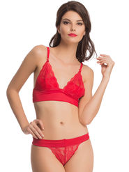 Clovia Polyamide  Lace Embroidered Bra & Panty Set -BP0482P04