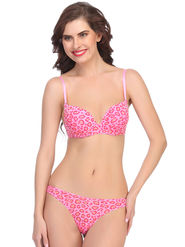 Clovia Polymide with Spandex Animal Print Bra & Panty Set -BP0503P22