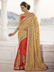 Bahubali Brasso Embroidered Saree - Light Gold - HT.53109