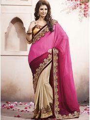 Bahubali Silk Jacquard Embroidered Saree - Multicolor