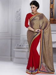 Bahubali Crepe Embroidered Saree - Gold - GA.50219