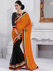 Bahubali Crepe Embroidered Saree - Orange - GA.50225