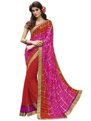Bahubali Bandhani Print-Georgette Embroidered Saree - Pink And Red