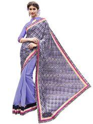 Bahubali Brasso-Georgette Embroidered Saree - Purple