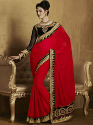 Bahubali Georgette Embroidered Saree - Red - RA.10230
