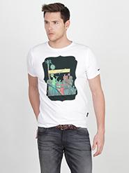 Basics Printed Crew Neck Half Sleeves T-Shirt for Men - White